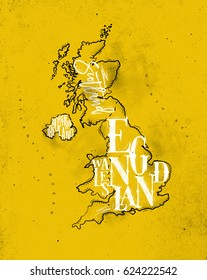 Vintage united kingdom map with regions inscription scotland, northern ireland, england, wales drawing on yellow background