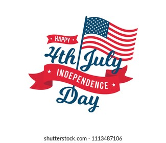 Vintage United States Of America 4th July Independence Day Logo Badge Illustration