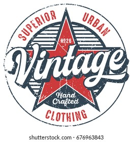 Vintage Urban Clothing Tee Design For Print