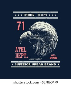 vintage urban typography with eagle head, t-shirt graphics, vector illustration