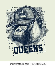 vintage urban typography with gorilla head, t-shirt graphics, vector illustration