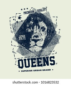 vintage urban typography with lion head, t-shirt graphics, vector illustration