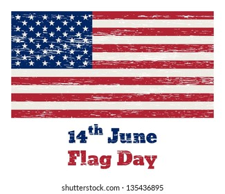 "Vintage USA flag with the inscription ""14 of June Flag Day"" and  removable scratches"