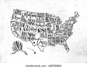 Vintage usa map with states inscription california, florida, washington, texas, new york, kansas, nevada, tennessee, missouri, arizona, illinois, oregon, louisiana drawing on dirty paper