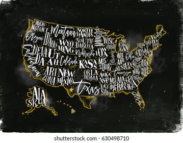 Vintage usa map with states inscription california, florida, washington, texas, new york, kansas, nevada, tennessee, missouri, arizona, illinois, oregon, louisiana drawing with chalk and yellow