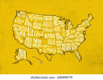 Vintage usa map with states inscription california, florida, washington, texas, new york, kansas, nevada, tennessee, missouri, arizona, illinois, oregon, louisiana drawing on yellow paper