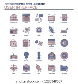 Vintage User Interface  Icon set - 25 Flat Line icon set