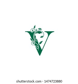 Vintage V Letter Luxury Logo. Letter V With Green Floral Shape design perfect for fashion, Jewelry, Beauty Salon, Hotel Logo. Cosmetics, Spa Logo. Resort and Restaurant Logo.