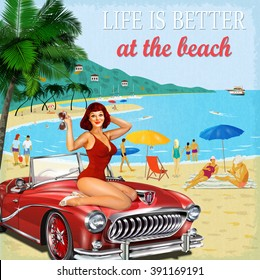 Vintage vacation background with pin-up girl,  retro car and people on the beach