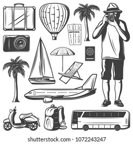 Vintage vacation and travel elements set with vehicles baggage traveler tickets camera palms passport recliner umbrella isolated vector illustration