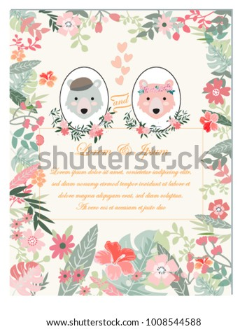 Vintage Valentine Cute Wedding Celebration Teddy Stock Vector