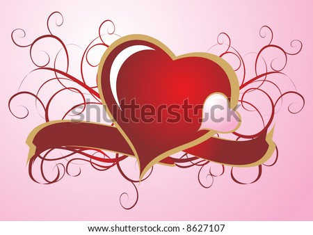 Vintage Valentine Heart Gold Border Over Stock Vector Royalty Free