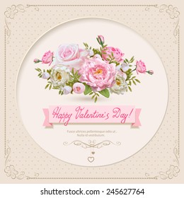 Vintage Valentine's Day Card with Flowers. Vector Illustration.
