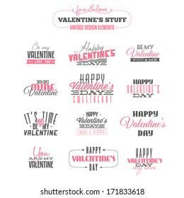Vintage Valentine's day  design elements