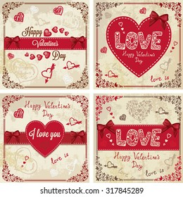 Vintage Valentines Day Design. Vector Illustration set for your design.