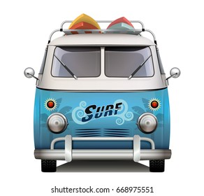 Vintage van. Surfer style. Isolated vector design.