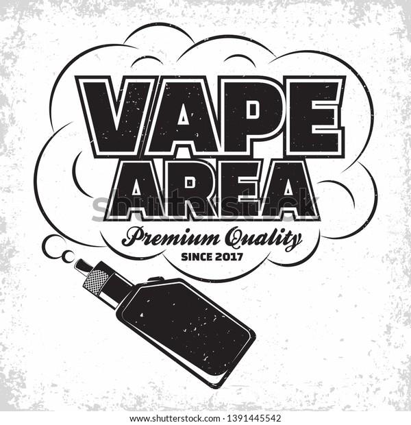 Vintage Vape Lounge Logo Design Emblem Stock Vector (Royalty