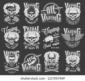 Vintage vaping logotypes collection with skulls wearing panama hipster hats baseball cap crossed smoking pipes winged vaporizer electronic cigarettes isolated vector illustration