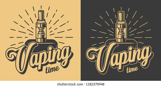 Vintage vaping logotypes with letterings and skeleton hand holding vape in monochrome style isolated vector illustration