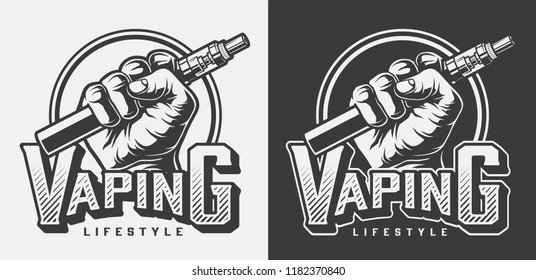 Vintage vaping monochrome labels with inscription and hand holding vape isolated vector illustration