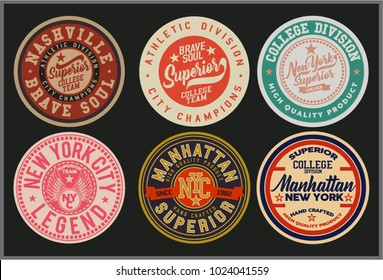 Vintage Varsity graphics and Emblem with grunge background.