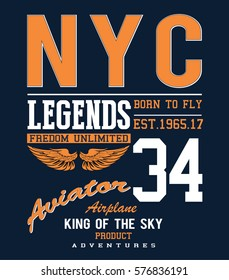 Vintage Vector Airplane, aviator, typography design for tee