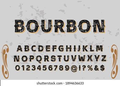 vintage vector alphabet, typeface design, gray and orange style background
