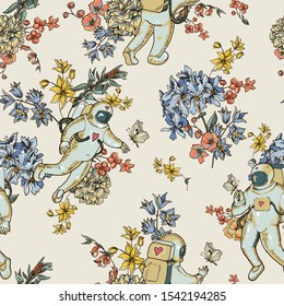 Vintage vector astronaut seamless pattern with flowers. Science fiction background, Hand drawn floral space, Spaceman with heart.