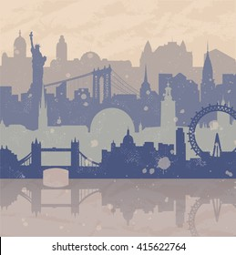Vintage vector background about travel. Silhouettes of cities such as New York, London, Stockholm. Grunge hand drawn look. Travel urban poster.