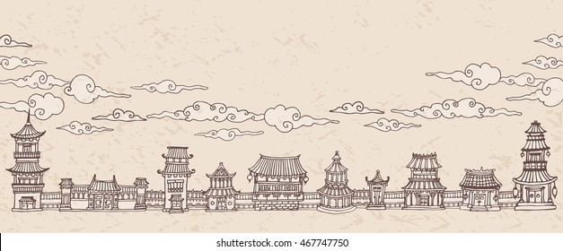 Vintage vector banner, header with traditional east asian town and clouds. Hand drawn sepia illustration.