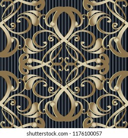 Vintage vector Baroque 3d seamless pattern. Striped ornamental black background. Textured backdrop. Line art tracery hand drawn swirls Damask ornament with flowers, leaves. Abstract  decorative design