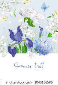 Vintage vector bouquet:blooming Chrysanthemums, blue Irises,  Peonies, Apple blossom, garden flowers. Botanical drawing in watercolor style. Template for greeting cards, wedding decorations, sales