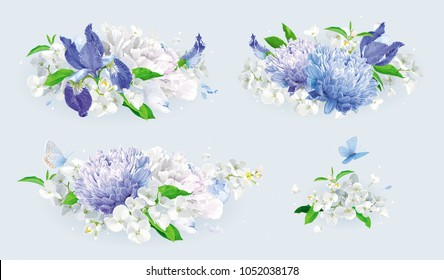 Vintage vector bouquets set: blue Chrysanthemums, Irises, white Peonies, Apple blossom. Botanical drawing in watercolor style for greeting cards, flower wedding invitations, spring summer sales.