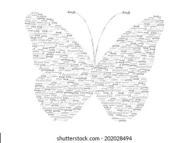 vintage vector butterfly silhouette made of words isolated on white background