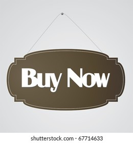 Vintage vector buy now sign.