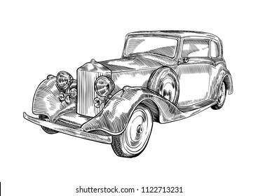 Vintage vector car illustration