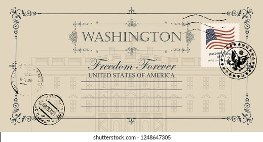 Vintage vector card with drawing of US White House in Washington DC and place for text. American landmark. Retro postcard with american flag on the post stamp and coat of arms on the postmark.