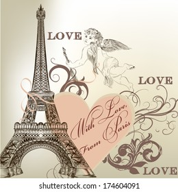 Vintage vector card with Eiffel tower for design