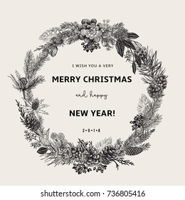 Vintage vector card. I Wish You A Very Merry Christmas And Happy New Year. The wreath of branches of different trees. Modern floristics. Black and white