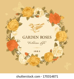 Vintage vector card with a wreath of white, yellow and red garden roses on a beige background. Victorian style.