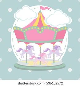 Vintage vector carousel/merry go round birthday card template/illustration on polka dot background pattern
