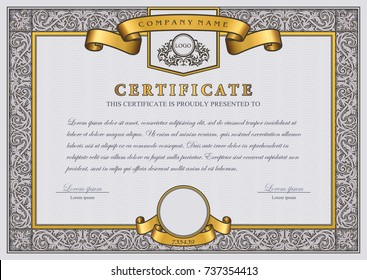 Vintage Vector Certificate Template with gold, luxury, ornamental frame and ribbons. Creative Diploma with ornate borders and elements.