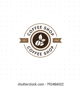 Vintage vector coffee logo and label. Coffee logo template. Caffeine logotype. Retro vintage insignia. Retro coffee badge. Vector illustration