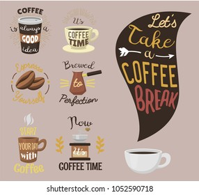 Vintage vector coffeeshop logo text labels and coffee drink love quote ribbon logo coffeebeans badges calligraphy break typography lettering
