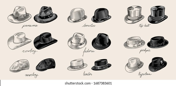 Vintage vector collection of men's hats in engraved drawing line art style. High quality black and white illustration.