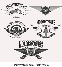 Vintage vector custom motorcycle racer stars logo set isolated on white background