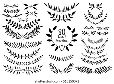 Vintage vector decorative nature branches for laurels and frames. Black and white floral elements for wedding invitations and greeting cards.
