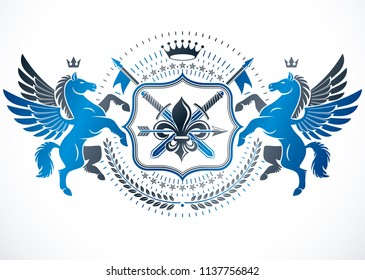 Vintage vector design element. Retro style label. composed with ancient swords. Vector blazon made with mythic Pegasus, imperial crown and Lily flower royal symbol.