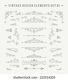Vintage Vector Design Elements. Flourishes calligraphic combinations retro design for Invitations, Posters, Badges, Logotypes and other design.