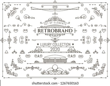 Vintage vector design elements. luxury collection. Decorative retro elements for design. Set for creating frames, text design, logos, letting.